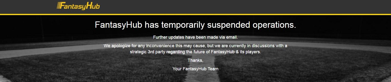 Sådan lyder beskeden på det suspenderede Fantasyhubs hjemmeside.